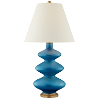 Smith Medium Table Lamp in Aqua Crackle with Natural Percale Shade