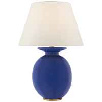 Hans Medium Table Lamp in Flowing Blue with Linen Shade