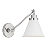 Wellfleet Single Arm Cone Task Sconce Matte White and Polished Nickel