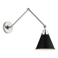 Wellfleet Double Arm Cone Task Sconce Midnight Black and Polished Nickel
