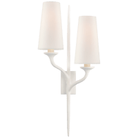 Iberia Double Left Sconce in Plaster White with Linen Shades