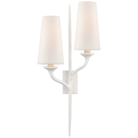 Iberia Double Right Sconce in Plaster White with Linen Shades