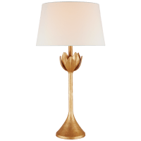 Alberto Large Table Lamp in Antique Gold Leaf with Linen Shade