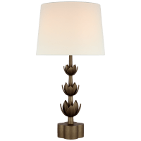 Alberto Large Triple Table Lamp in Antique Bronze Leaf with Linen Shade