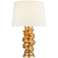 Karissa Medium Table Lamp in Antique Gold Leaf with Linen Shade