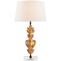 Capriva Large Table Lamp in Antique Gold Leaf with Linen Shade