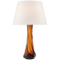 Lourdes Large Table Lamp in Amber Glass with Linen Shade