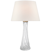 Lourdes Large Table Lamp in Clear Glass with Linen Shade