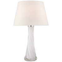 Lourdes Large Table Lamp in White Glass with Linen Shade
