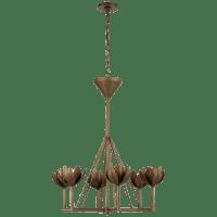 Alberto Small Single Tier Chandelier in Antique Bronze Leaf