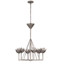 Alberto Small Single Tier Chandelier in Burnished Silver Leaf
