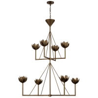 Alberto Large Two Tier Chandelier in Antique Bronze Leaf