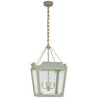 Caddo Medium Lantern in Celadon and Gild with Clear Glass