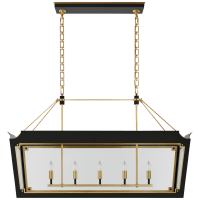 Caddo Medium Linear Lantern in Matte Black and Gild with Clear Glass