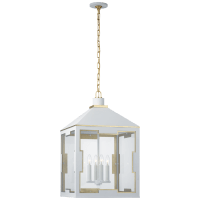 Ormond Medium Lantern in Soft White and Gild with Clear Glass