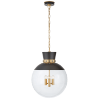 Lucia Large Pendant in Matte Black and Gild with Clear Glass