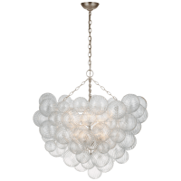 Talia Grande Chandelier in Burnished Silver Leaf with Clear Swirled Glass