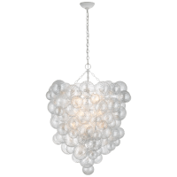 Talia Grande Entry Chandelier in Plaster White with Clear Swirled Glass