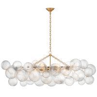 Talia Medium Linear Chandelier in Gild with Clear Swirled Glass