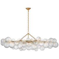 Talia Large Linear Chandelier in Gild with Clear Swirled Glass