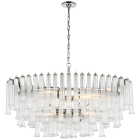 Lorelei X-Large Oval Chandelier in Polished Nickel with Clear Glass