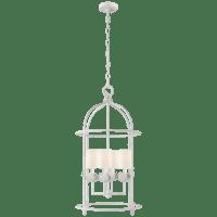 Illana Medium Lantern in Plaster White with Linen Shade