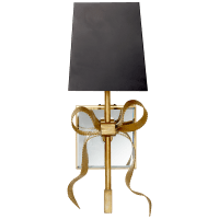 Ellery Gros-Grain Bow Small Sconce in Soft Brass with Matte Black Shade