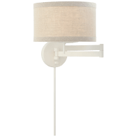 Walker Swing Arm Sconce in Light Cream with Natural Linen Shade