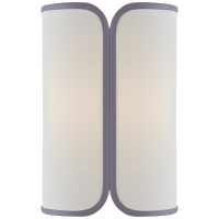Eyre Medium Sconce in Polished Nickel with Linen with Lilac Trimmed Shade