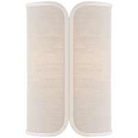 Eyre Medium Sconce in Soft Brass with Natural Linen with Cream Trimmed Shade