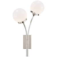 Prescott Left Sconce in Polished Nickel with White Glass