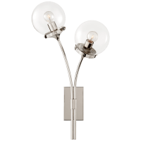 Prescott Right Sconce in Polished Nickel with Clear Glass