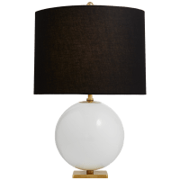 Elsie Table Lamp in Cream Reverse Painted Glass with Black Linen Shade