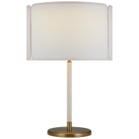Eyre Medium Table Lamp in Soft Brass and Cream Leather with Linen and Cream Trimmed Shade