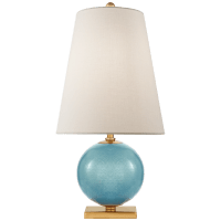 Corbin Mini Accent Lamp in Sandy Turquoise with Cream Linen Shade