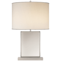 Bradford Large Table Lamp in Mirror and Polished Nickel with Cream Linen Shade with Polished Nickel