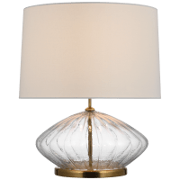 Everleigh Medium Fluted Table Lamp in Clear Glass with Linen Shade