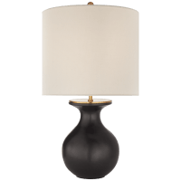 Albie Small Desk Lamp in Metallic Black with Cream Linen Shade