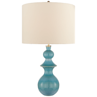 Saxon Large Table Lamp in Sandy Turquoise with Cream Linen Shade