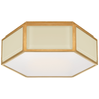 Bradford Small Hexagonal Flush Mount in Cream and Soft Brass with Frosted Glass