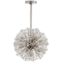 Dickinson Small Chandelier in Polished Nickel with Clear Glass and Cream Pearls