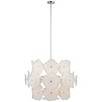 Leighton Large Barrel Chandelier in Polished Nickel with Cream Tinted Glass