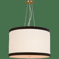 Walker Medium Hanging Shade in Gild with Cream Linen Shade with Black Linen Trim