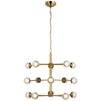 Alloway Small Barrel Chandelier in Soft Brass with Clear Glass