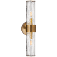 Liaison Medium Sconce in Antique-Burnished Brass with Crackle Glass