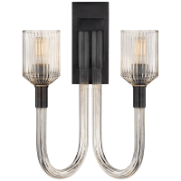 Reverie Double Sconce in Clear Ribbed Glass and Bronze
