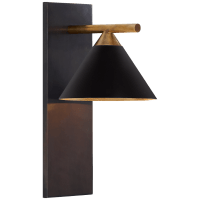 Cleo Sconce in Bronze and Antique-Burnished Brass with Black Shade