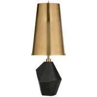 Halcyon Accent Table Lamp in Black Cremo Marble with Antique-Burnished Brass Shade