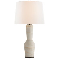 Alta Table Lamp in Porous White and Ivory with Linen Shade