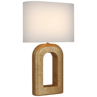 Utopia Large Combed Table Lamp in Gild with Linen Shade
